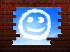 Free Smile Cloud In Hole In Brick Wall Royalty Free Stock Images - 27245269