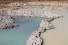 Free Dam With A Large Stone In The Mine. Stock Image - 27246561