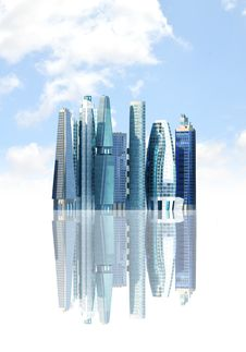 Futuristic City Background Stock Photography