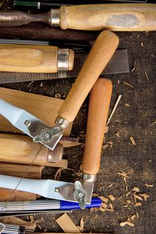 Free Tools-woodcraft Background Royalty Free Stock Images - 27248179
