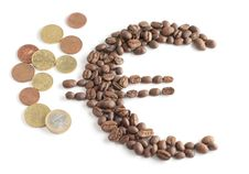 Euro Symbol Composed From Coffee Beans And Euro Co