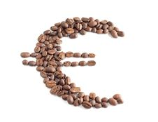 Euro Symbol Composed From Coffee Beans Royalty Free Stock Image