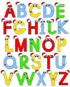 Funny Latin Alphabet In Santa Caps Stock Photo
