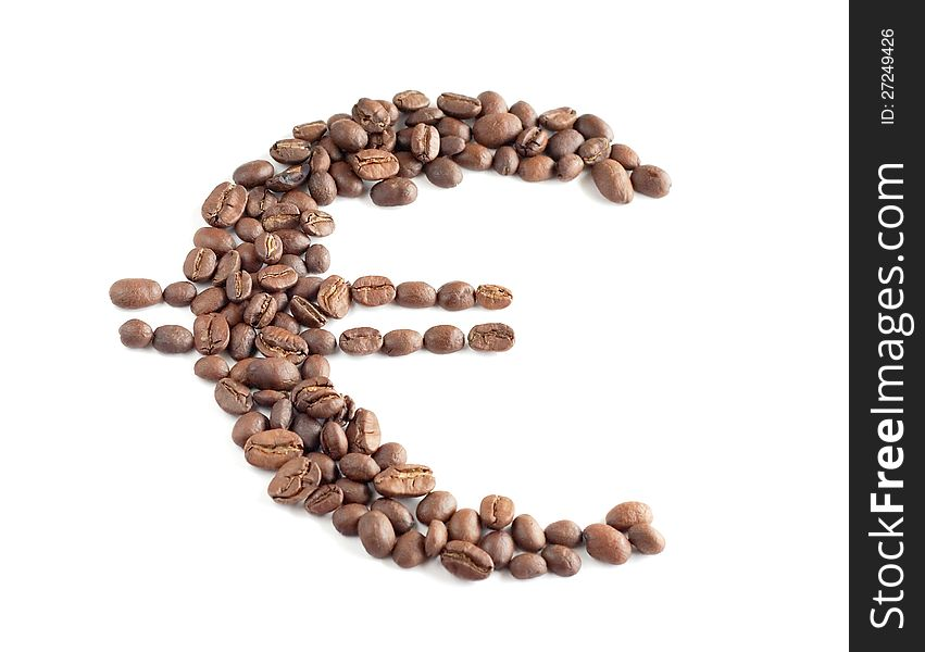 Euro symbol composed from coffee beans
