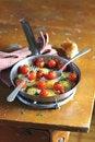Free Fried Quail Eggs With Tomatoes And Mozzarela Stock Photos - 27250433