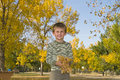 Free Little Boy Plays With Colorful Leaves In Air Stock Photos - 27254153