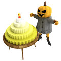 Free Isolated Pumpkin Witch With Cake On Table Royalty Free Stock Images - 27255359