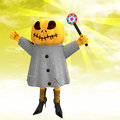 Free Pumpkin Witch With Wand With Yellow Sunset Royalty Free Stock Photos - 27255468