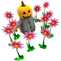 Free Isolated Pumpkin Witch In Magic Flower Garden Royalty Free Stock Image - 27255546