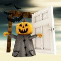 Free Pumpkin  Witch With Open Heaven Door With Bats Royalty Free Stock Photography - 27255757