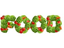 Food Word Made Of Vegetables Stock Photography