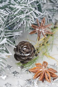 Christmas Decorations, Pine Cones And Star Anise Stock Image