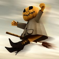 Free Flying Halloween Pumpkin Blur Sky Royalty Free Stock Images - 27255019