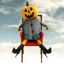 Free Halloween Pumpkin Sitting Front View Royalty Free Stock Images - 27255069