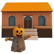 Free Isolated Pumpkin Witch In Front Of House Royalty Free Stock Photo - 27255145