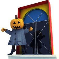 Free Halloween Witch Standing In Front Of Door Stock Photography - 27255192