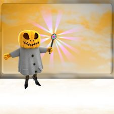 Free Pumpkin Witch With Wand Ahead Of Orange Board Royalty Free Stock Photos - 27255428