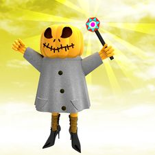 Pumpkin Witch With Wand With Yellow Sunset Royalty Free Stock Photos
