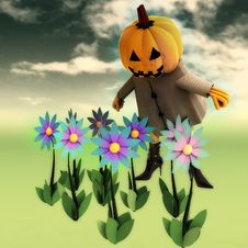 Free Halloween Pumpkin Witch In Mystic Flower Garden Royalty Free Stock Image - 27255526