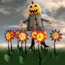 Free Pumpkin Witch In Dark Flower Garden Royalty Free Stock Image - 27255566