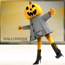 Free Pumpkin Girl Standing On One Leg Teplate Royalty Free Stock Image - 27255706