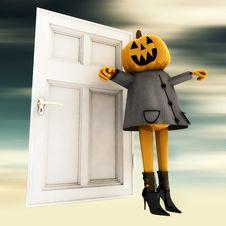 Free Pumpkin Halloween Witch In Front Of Door Blur Stock Photography - 27255732