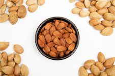 Almonds In A Bowl, Snacks Of Nuts Stock Images