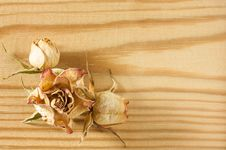 Dry Rose Flowers On Rough Wooden Table Stock Photo