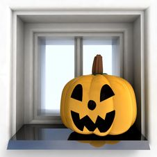 Pumpkin Head Situated On Sill Stock Photo