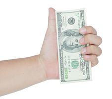 Free Hand Holding Money Dollars Royalty Free Stock Image - 27263126