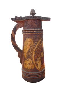 Free Old Carved Wooden Beer Stein Isolated. Stock Photo - 27267440
