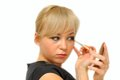 Free Young Beautiful Woman With A Make-up Brush Stock Image - 27272201