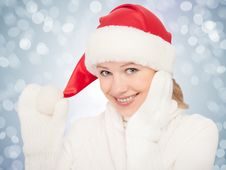 Beauty Happy Girl In Christmas Hat And Mittens Royalty Free Stock Photos