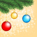 Free Christmas Tree Branch With Baubles Royalty Free Stock Images - 27281219