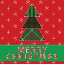 Free Christmas Card With Tree Stock Photography - 27281232