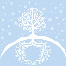 Free Winter Tree And Snowfal Royalty Free Stock Photo - 27281265