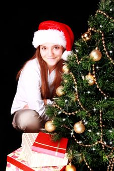 Free Girl With Christmas Tree And Presents Over Dark Stock Image - 27283471
