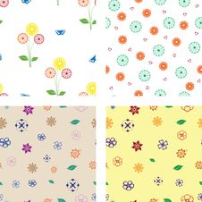 Free Multicolored Flower Seamless Patterns Royalty Free Stock Images - 27284859