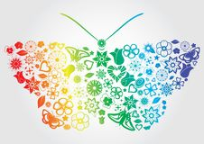 Rainbow Flower Butterfly Stock Images
