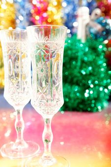 Free Champagne Glasses On The Table For Christmas Royalty Free Stock Photo - 27289445