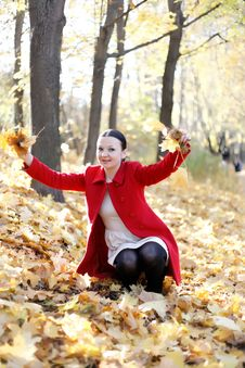 Free Happy Girl Playing With Autumn Leaves Royalty Free Stock Photos - 27289758