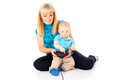 Free Mother With A Child Playing Video Games Stock Images - 27296804