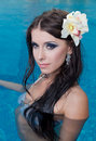 Free The Beautiful Girl In Pool Royalty Free Stock Photo - 27298865