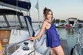 Free The Charming Beauty Poses At The Yacht Stock Images - 27299564