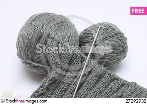 Free Yarn For Knitting And Spokes Stock Photography - 27292932