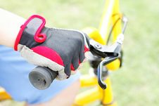 Free Boy S Hand On The Wheel Bicycle Stock Image - 27290871