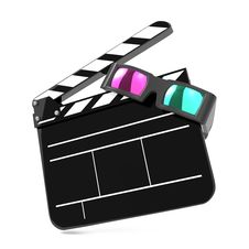Clapboard With Anaglyph Glasses And Film Reel. Stock Photo