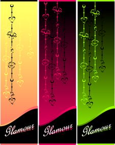 Free Set Glamour Banners With Hearts And Flowers Royalty Free Stock Photos - 27294708