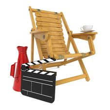 Free Director S Chair With Clap Board And Megaphone. Stock Photography - 27299222