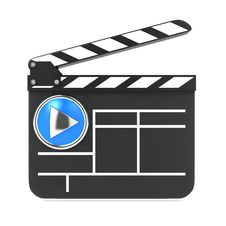 Clapboard With Blue Screen. Media Player Concept. Royalty Free Stock Photo